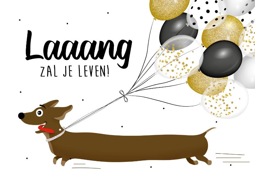 Verjaardagskaarten - Verjaardagskaart teckel met grote bos ballonnen