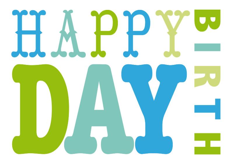 Verjaardagskaarten - Verjaardagskaart tekst groen blauw