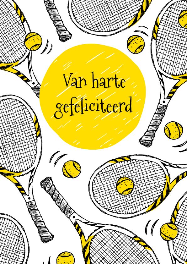 Verjaardagskaarten - Verjaardagskaart tennisrackets
