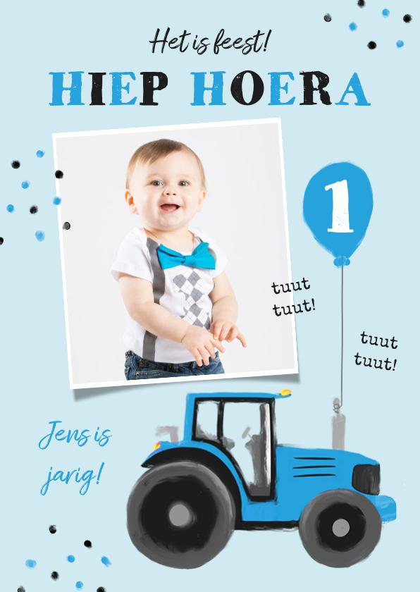 Verjaardagskaarten - Verjaardagskaart tractor confetti blauw jongen ballon