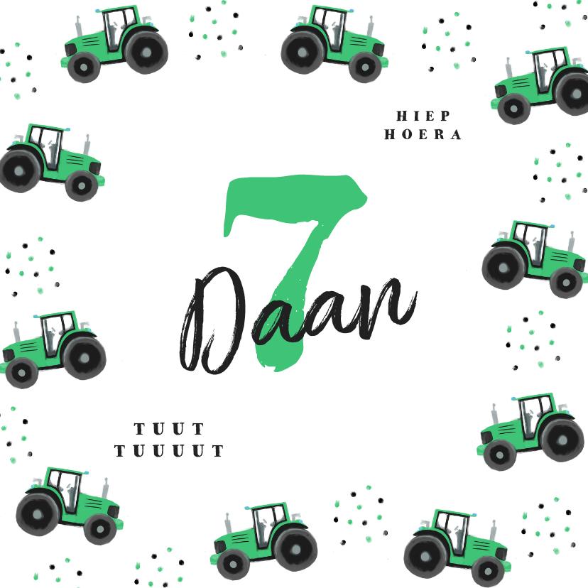 Verjaardagskaarten - Verjaardagskaart tractor en confetti