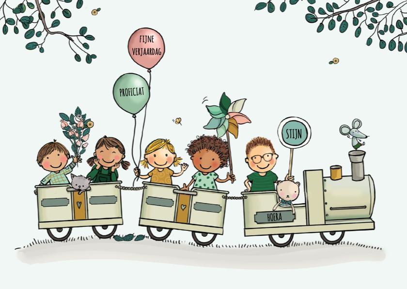 Verjaardagskaarten - Verjaardagskaart trein kinderen