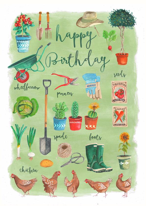 Verjaardagskaarten - Verjaardagskaart tuinieren man