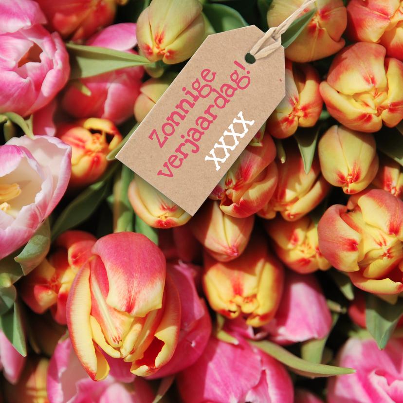 Verjaardagskaarten - Verjaardagskaart tulpen kleur av