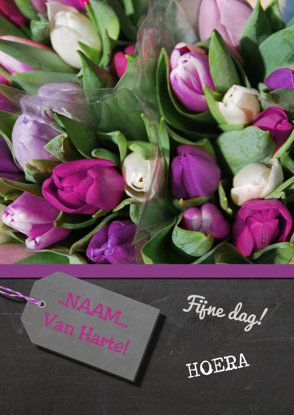 Verjaardagskaarten - Verjaardagskaart tulpen paars