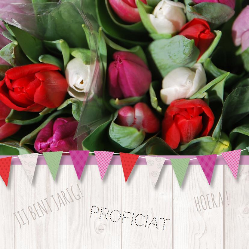 Verjaardagskaarten - Verjaardagskaart tulpen vlag av
