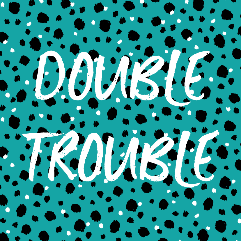 Verjaardagskaarten - Verjaardagskaart tweeling double trouble confetti