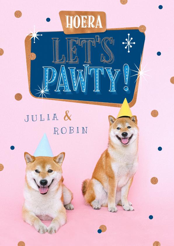 Verjaardagskaarten - Verjaardagskaart tweeling hond feest confetti pawty