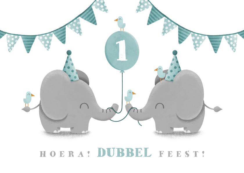 Verjaardagskaarten - Verjaardagskaart tweeling olifantjes met ballon en slingers