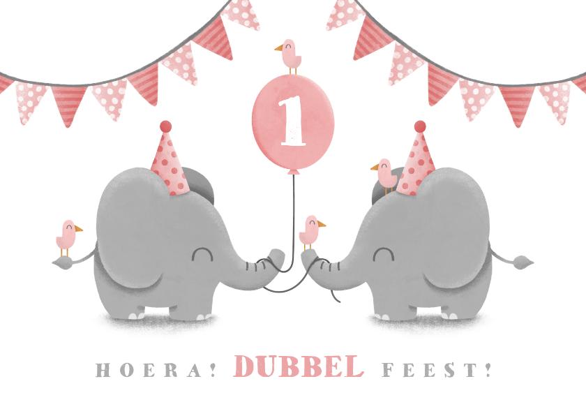 Verjaardagskaarten - Verjaardagskaart tweeling olifantjes met slingers en ballon