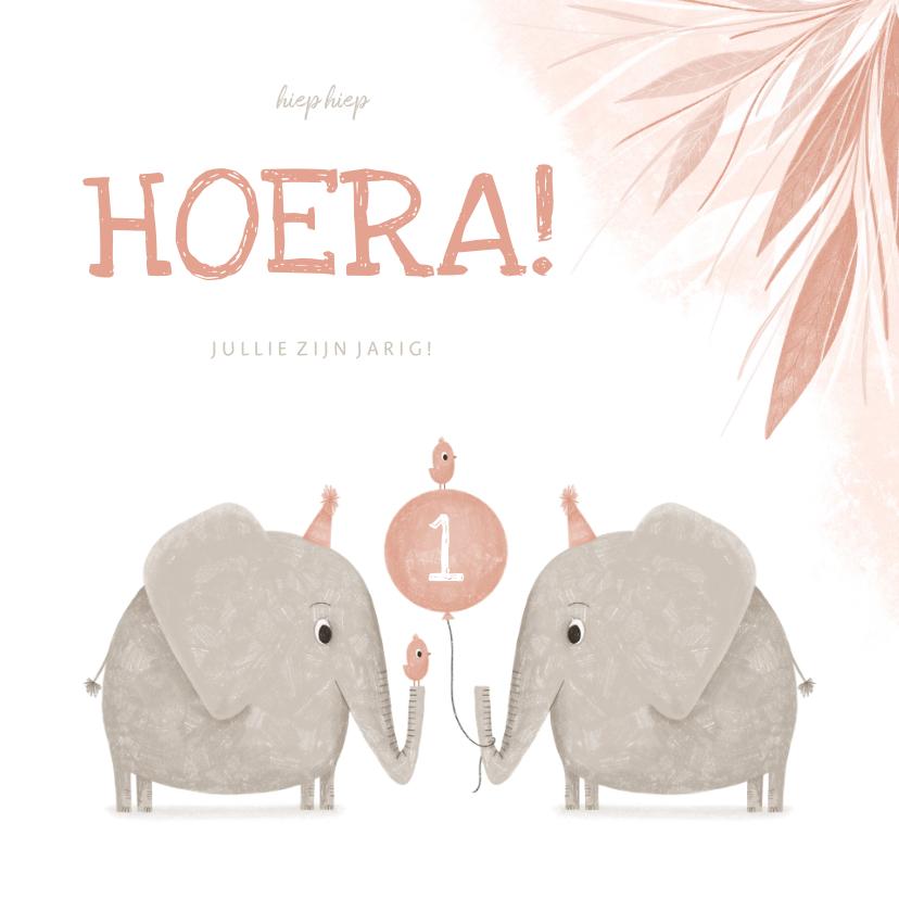 Verjaardagskaarten - Verjaardagskaart tweeling roze 1 jaar olifantjes met vogels
