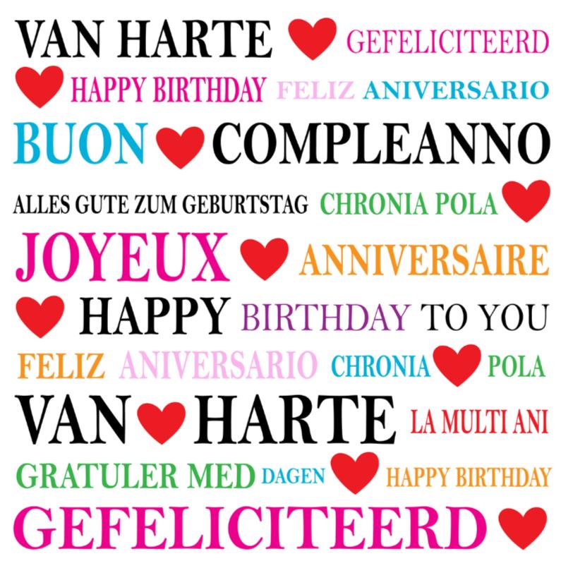Verjaardagskaarten - Verjaardagskaart typografie LB