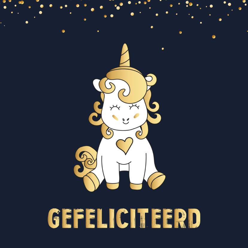 Verjaardagskaarten - Verjaardagskaart Unicorn goud