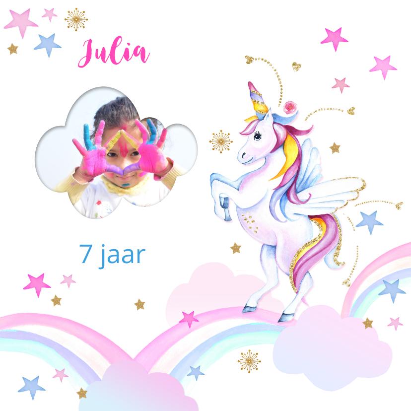 Verjaardagskaarten - Verjaardagskaart unicorn wolkjes