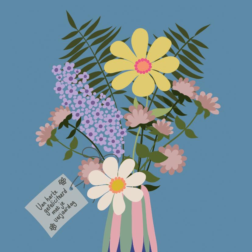Verjaardagskaarten - Verjaardagskaart - vaas met bloemen
