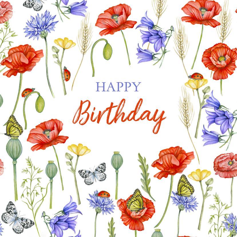 Verjaardagskaarten - Verjaardagskaart veldbloemen