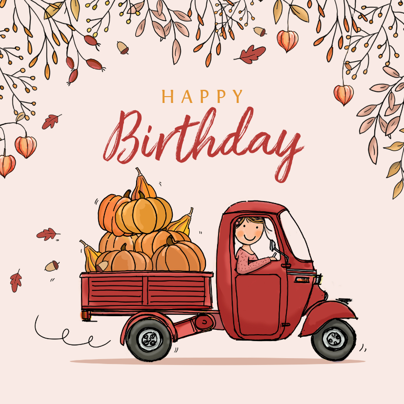 Verjaardagskaarten - Verjaardagskaart Vespa Ape herfst