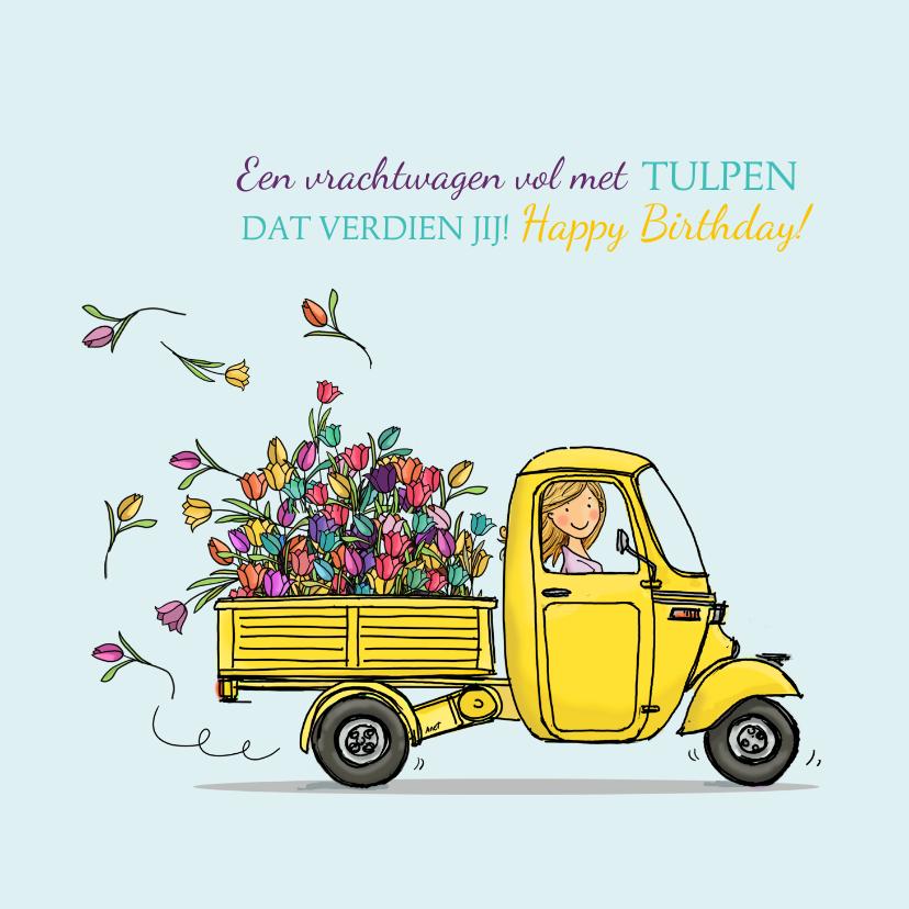 Verjaardagskaarten - Verjaardagskaart Vespa Ape met tulpen