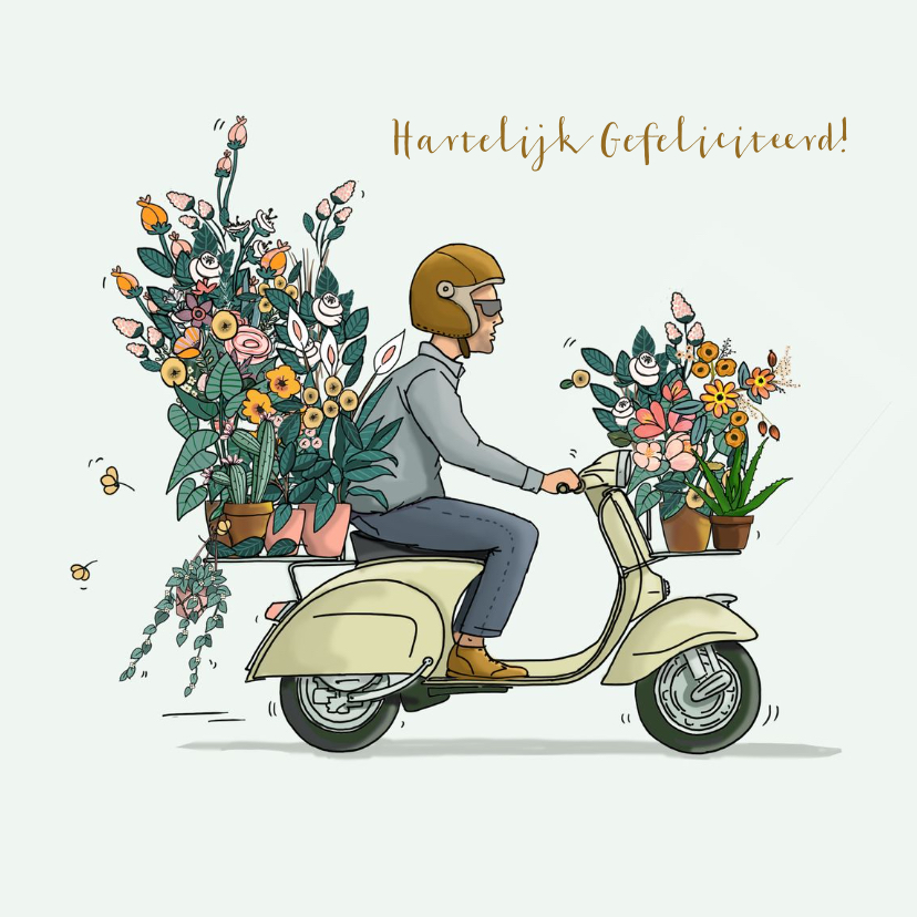Verjaardagskaarten - Verjaardagskaart Vespa met bloemen