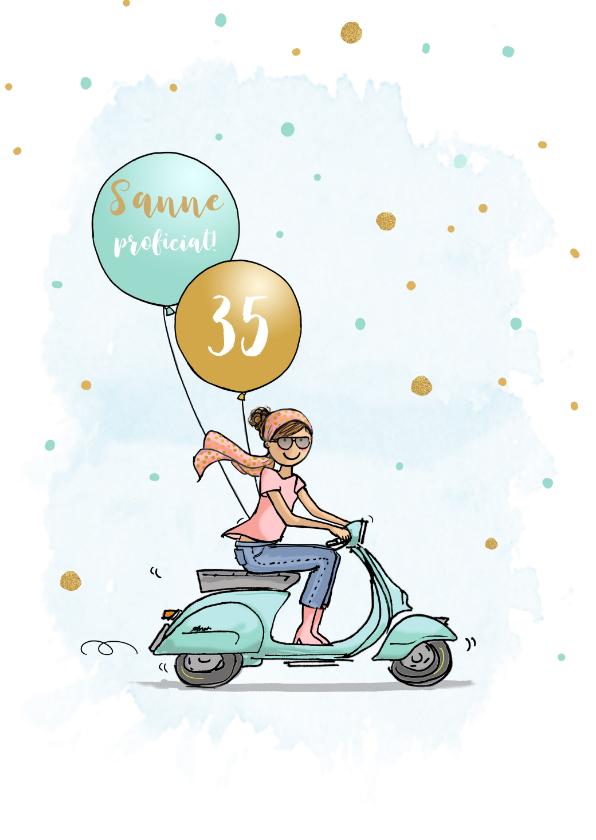 Verjaardagskaarten - Verjaardagskaart vespa scooter vrouw