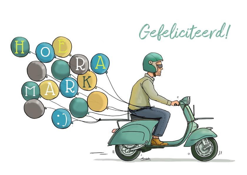 Verjaardagskaarten - Verjaardagskaart Vespa zw av
