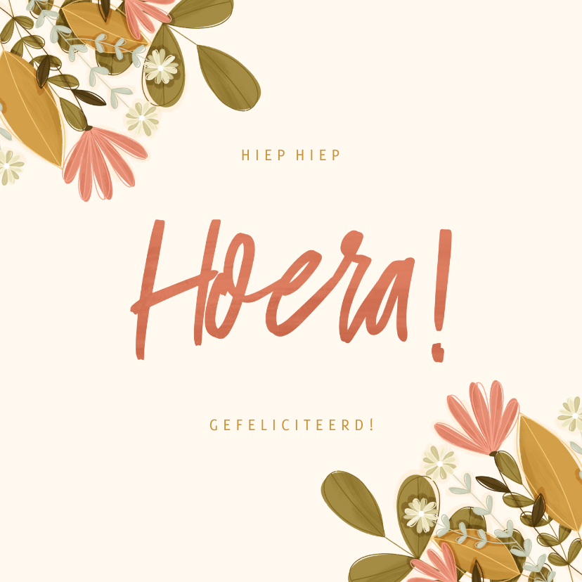 Verjaardagskaarten - Verjaardagskaart vierkant Hoera met bloemen