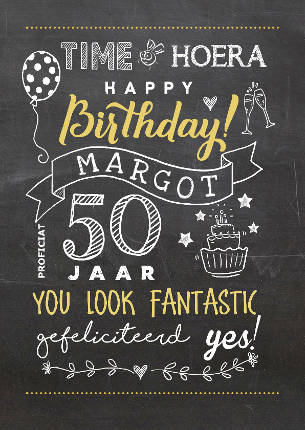 Verjaardagskaarten - Verjaardagskaart vijftig chalkboard