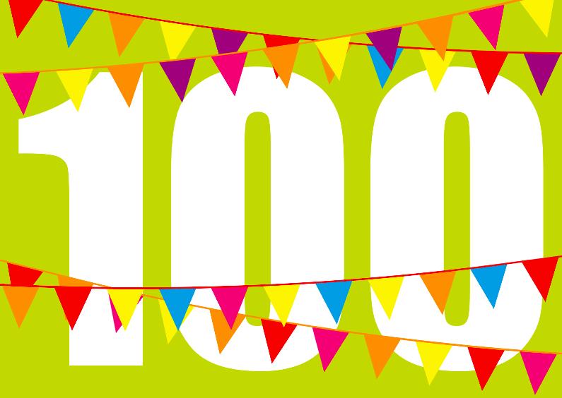 Verjaardagskaarten - Verjaardagskaart Vlaggen 100 jaar