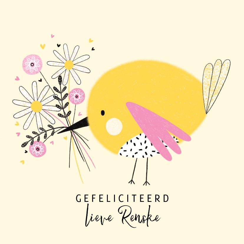 Verjaardagskaarten - Verjaardagskaart vogel bloemen geel