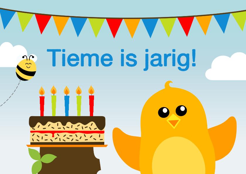 Verjaardagskaarten - Verjaardagskaart vogel met taart jongen - DD