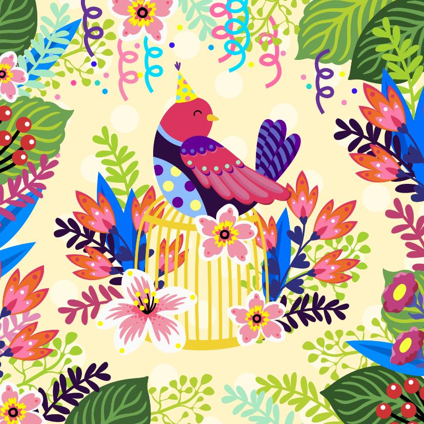 Verjaardagskaarten - Verjaardagskaart vogel op kooi en bloemen