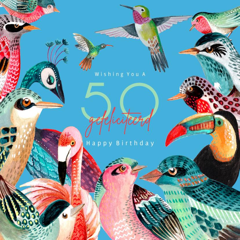 Verjaardagskaarten - Verjaardagskaart vogel soorten