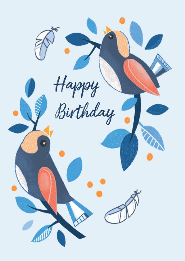 Verjaardagskaarten - Verjaardagskaart vogels