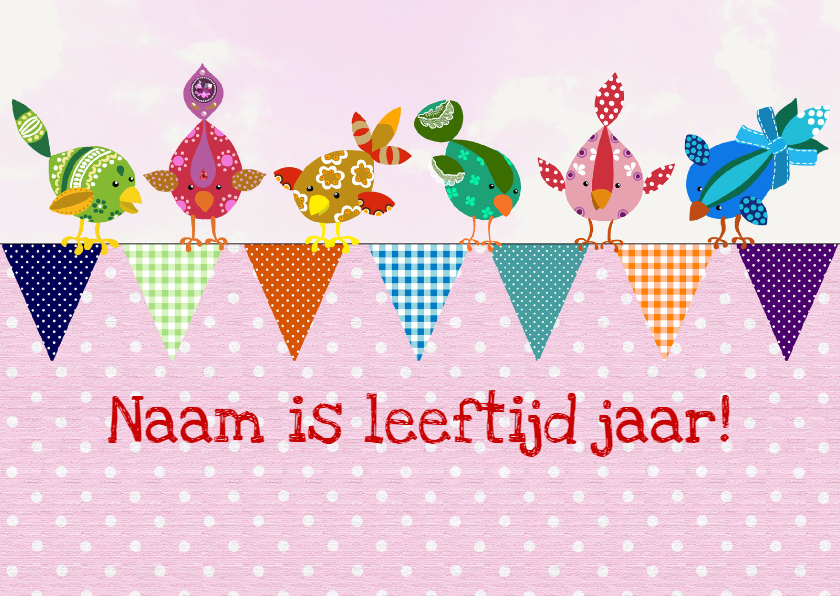 Verjaardagskaarten - Verjaardagskaart vogeltjes slinger roze