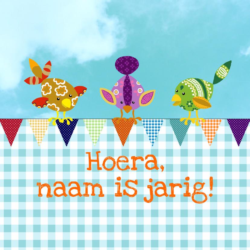 Verjaardagskaarten - Verjaardagskaart vogeltjes vlag