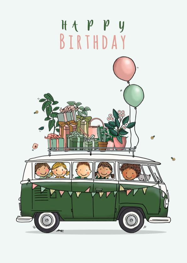 Verjaardagskaarten - Verjaardagskaart Volkswagen groen