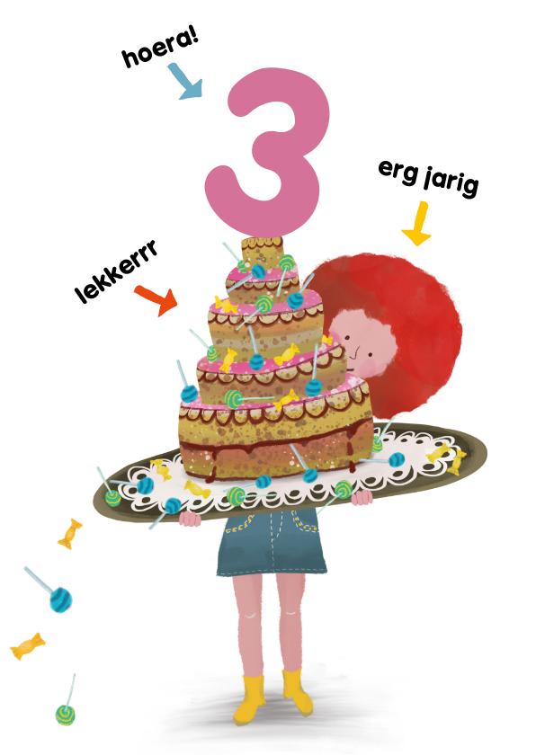 Verjaardagskaarten - Verjaardagskaart voor jongen of meisje taart met lolly's