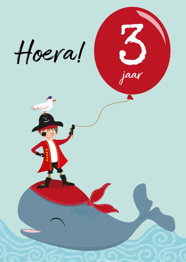 Verjaardagskaarten - Verjaardagskaart voor kind met piraatje op walvis