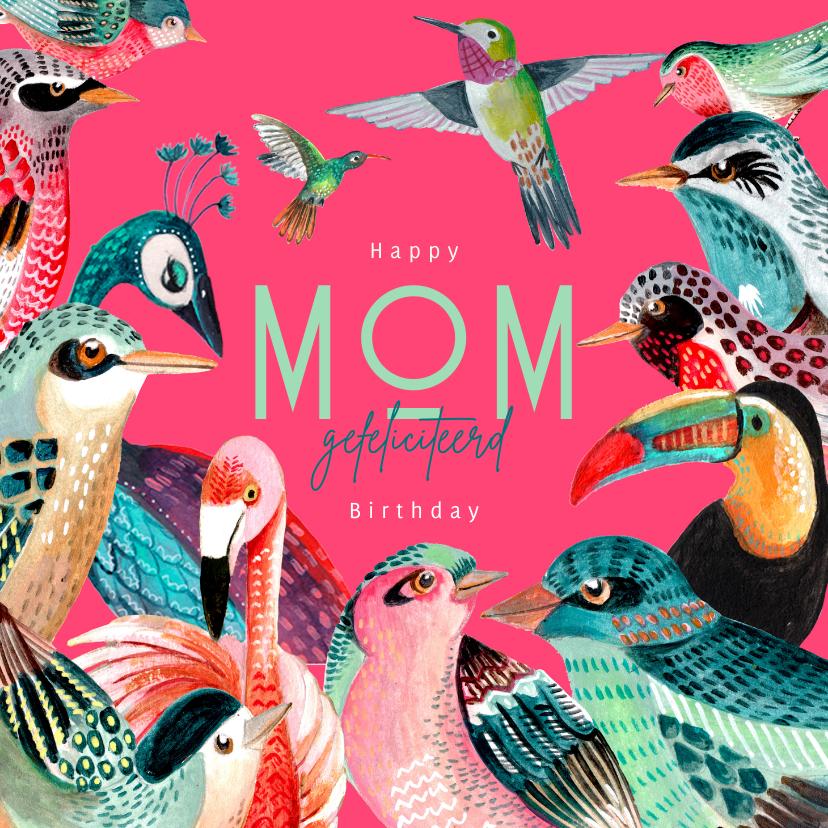Verjaardagskaarten - Verjaardagskaart voor mama met allemaal vogels