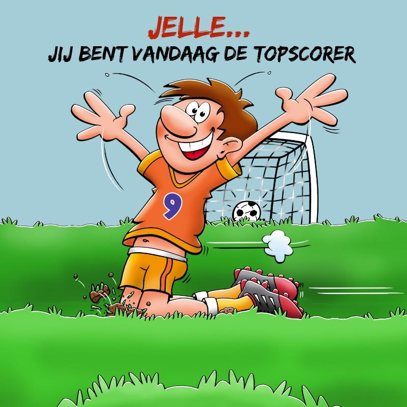 Verjaardagskaarten - Verjaardagskaart voor voetballende jongen rond de 9 jaar