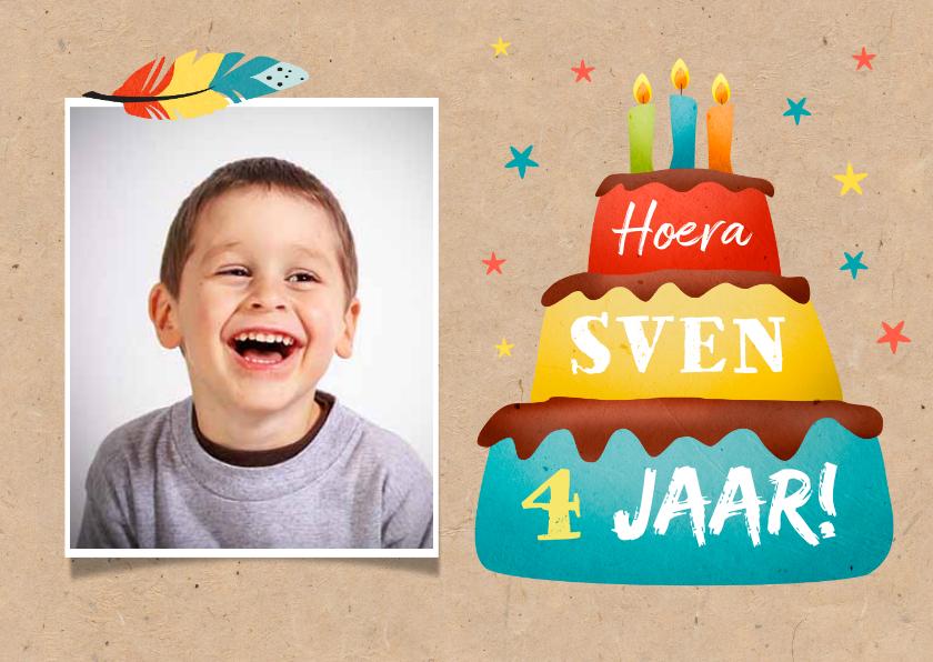 Verjaardagskaarten - Verjaardagskaart vrolijk met taart en veertjes