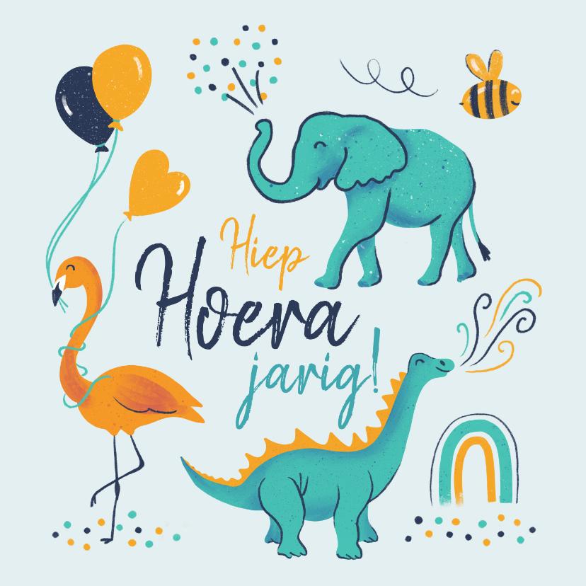 Verjaardagskaarten - Verjaardagskaart vrolijke beestenboel