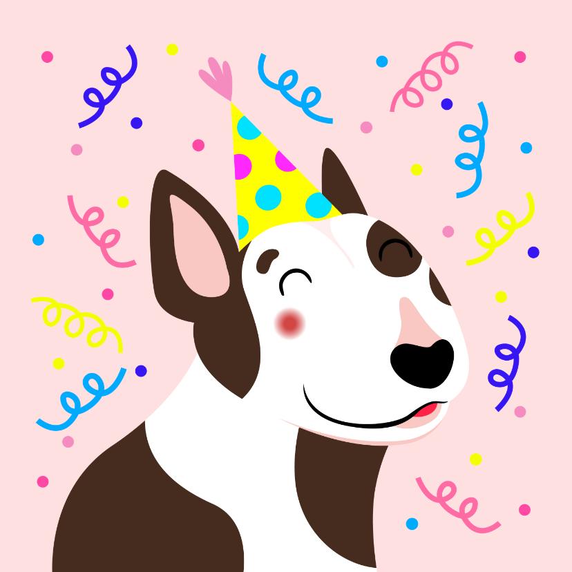 Verjaardagskaarten - Verjaardagskaart vrolijke bull terrier met slingers