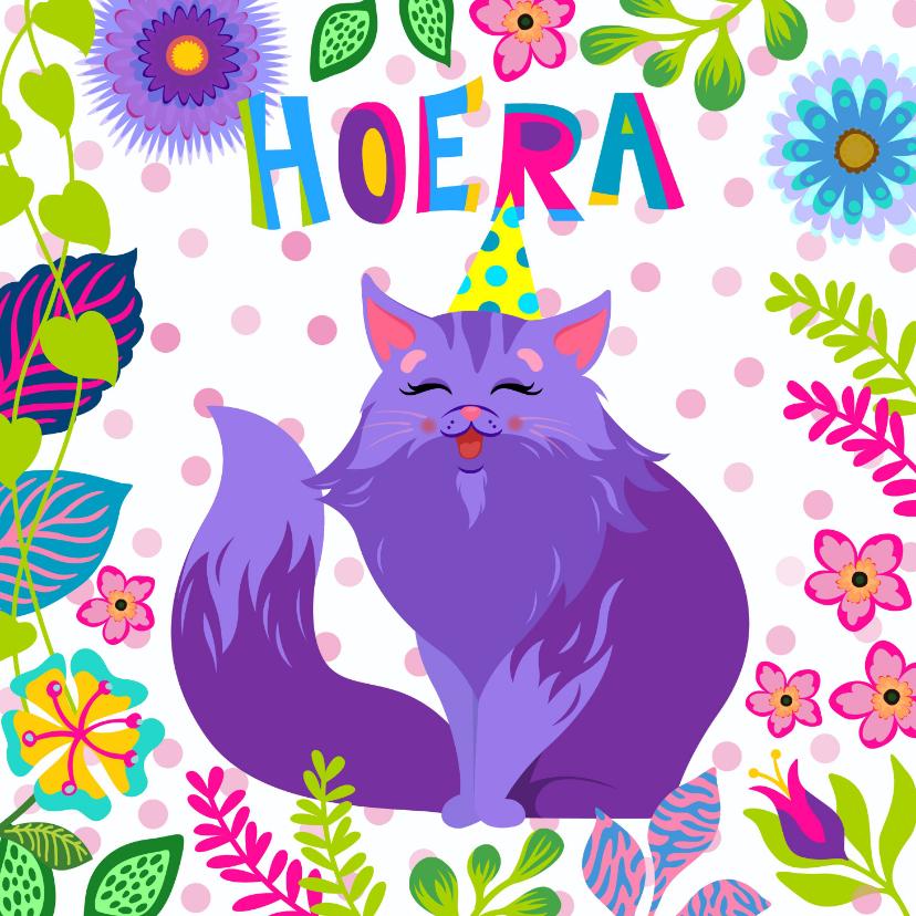 Verjaardagskaarten - Verjaardagskaart vrolijke kat met bloemen en planten