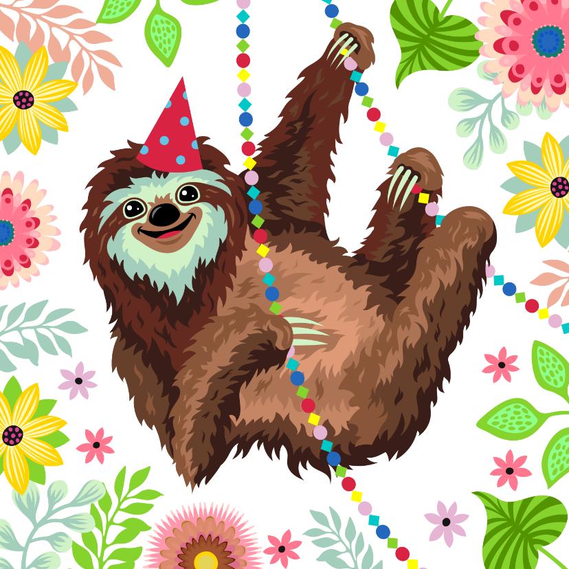 Verjaardagskaarten - Verjaardagskaart vrolijke luiaard slingers
