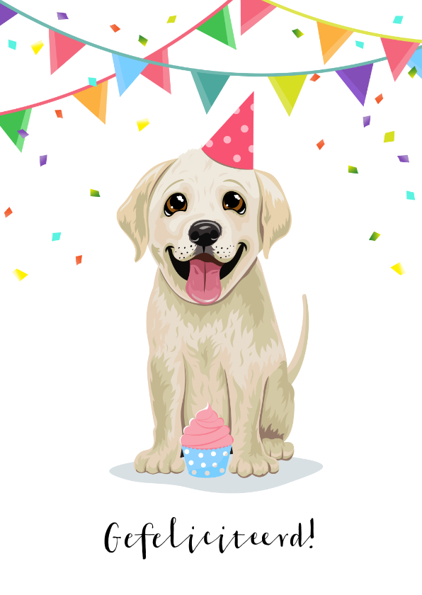 Verjaardagskaarten - Verjaardagskaart vrolijke puppy cupcake confetti en slingers