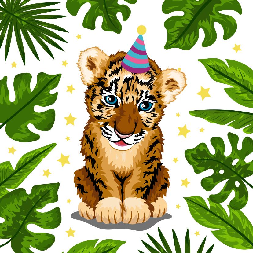 Verjaardagskaarten - Verjaardagskaart vrolijke tijger jungle voor kind