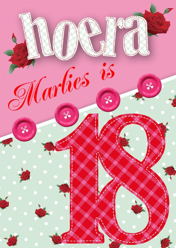 Verjaardagskaarten - Verjaardagskaart vrouw 18 rozen lief