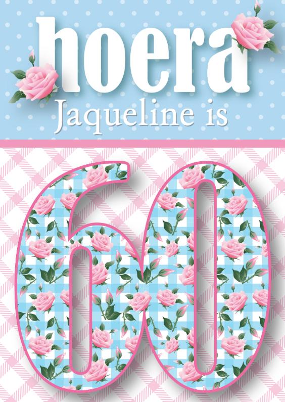 Magnifiek Verjaardagskaart vrouw 60 rozen lief | Kaartje2go &JI89