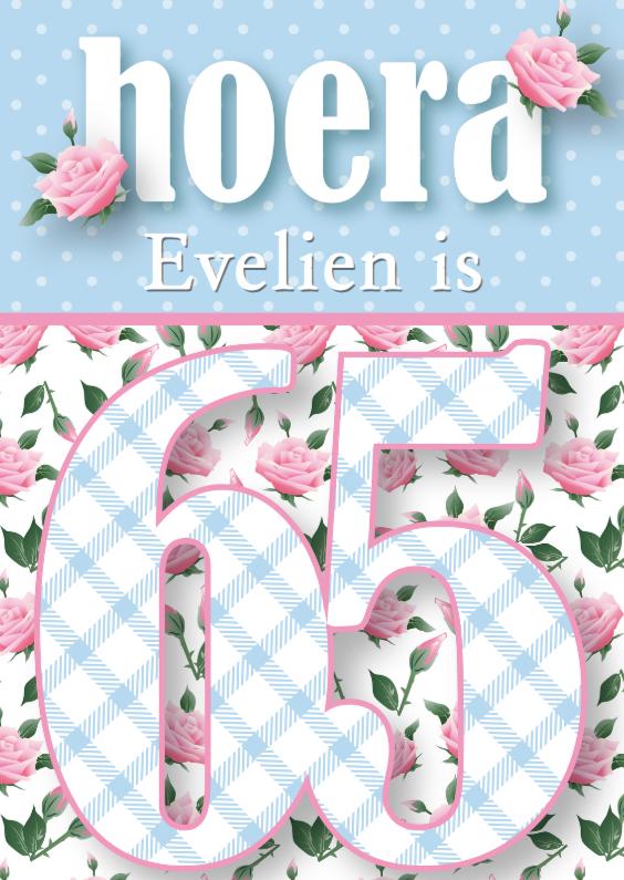 Verjaardagskaarten - Verjaardagskaart vrouw 65 rozen lief
